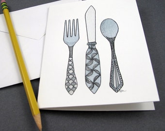 Fork Knife & Spoon Stationery Set - Set of 8 Blank Inside Card Set - Utensils invitation notecards