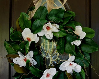 Spring Wreath For The Door ,Spring Wreath , Summer Door Wreath , Outdoor Wreath ,  Door Wreath , Magnolia Wreath , Country Wreath , Wreath