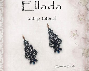 Black lace earrings frivolite tutorial - Holiday tatting earrings evening - PDF Tatting Pattern Earrings - Tattings Frivolite lace jewelry