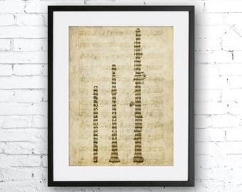 Old sheet music flute, Old paper print, Flute, Music home decor, Gift for musician. Music art, Vintage paper flute, Flutes, flute poster
