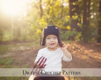 Crochet Hat Pattern / Crochet Pattern / Aviator Hat Pattern 023 / Bomber Hat Pattern / Unisex Pattern / DIY Gift for Her  / DIY Pattern