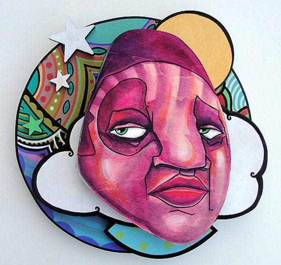 Mo Mind Trip - Original Layered Mixed Media Painting - 2011