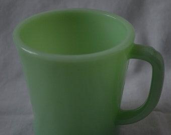 Vintage Fire King Jadeite Green D-Handled Mug, Anchor Hocking, Jade-Ite