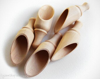 "Set of 10 Natural Wood Round Scoops, 3.5"" Long, Bath Salt Scoop, Candy Bar Scoop"