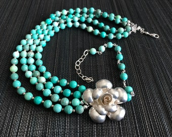 Unique Sterling Silver Turquoise Necklace