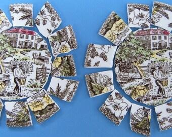 Mosaic Focal Tile, Vintage Fair Oaks China, Royal China, Mosaic Supplies, Mosaic Tiles, Broken china
