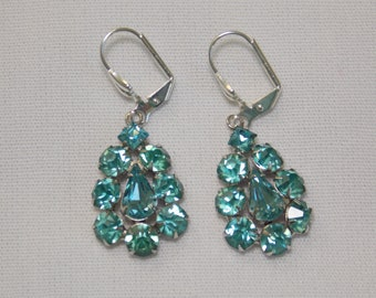 Vintage Turquoise Aqua Rhinestone Earrings #1