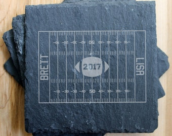 SET OF 4 Personalized Slate Coasters/Laser Engraved, slate coaster, personalized football, engraved football, football season, football gift