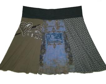 Plus Size Skirt 1X 2X Shorter Style Upcycled Skirt Hippie Skirt Repurposed Skirt Size 18 20 22 Above the Knee T-Shirt Skirt Twinkle