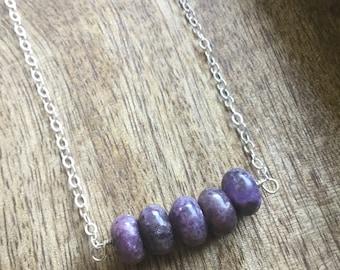Lepidolite necklace , Sterling silver