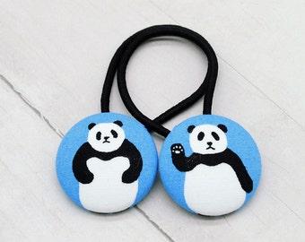 Panda Bear Hair Tie, Panda Ponytail Holder, Panda Lover Gift, Zoo Hair Accessory, Panda Pigtail Set,Stocking Stuffer,