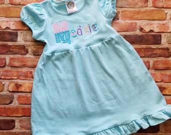 Girls mermaid dress, girls dress, mermaid font dress, custom girls dress, girls mermaid, embroidered mermaid name, personalized dress