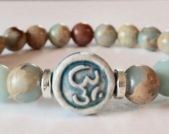 Om Bracelet, Yoga Bracelet, Yoga Jewelry, Mala Bracelet, Gemstone, Mala, Ohm Bracelet, Om, Ohm, Meditation, Prayer Beads, Buddhist, Reiki