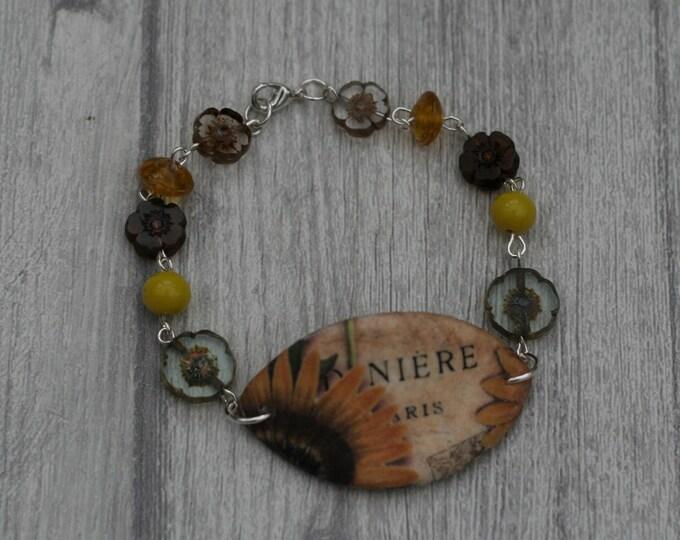 Sunflower Bracelet, Flower Bracelet, Flower Bar Bracelet