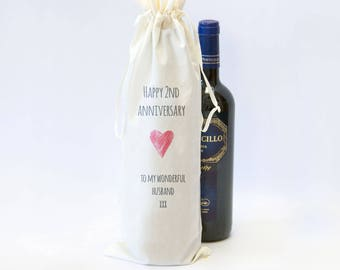Cotton Anniversary Gift for Him or Her. Cotton 2nd Anniversary Gift, Wine Champagne Spirit Bottle Bag for Husband / Him or Wife / Her