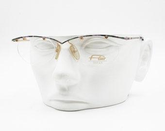 Flair Titan Nickel free Jet Set 699 Eyeglasses frame sunglasses frame, Violet colorfull half rimmed, New Old Stock