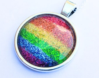 """Nail Polish Jewelry, Rainbow necklace, Nail Polish Necklace, glitter Necklace, 16"""" chain Necklace"""