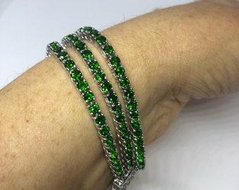 Vintage Victorian Style Sterling Silver Filigree Green Chrome Diopside Statement Bracelet