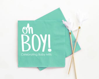 Personalized Boy Baby Shower Napkins Custom Oh Boy Beverage Napkins Baby Shower Decoration Ideas Gender Reveal Party Baby Boy Party Napkins