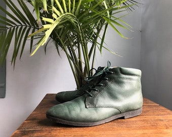 Forest Green Vintage Leather Booties