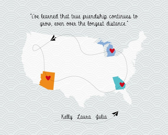Long Distance Friendship Love Map Family Quote Map