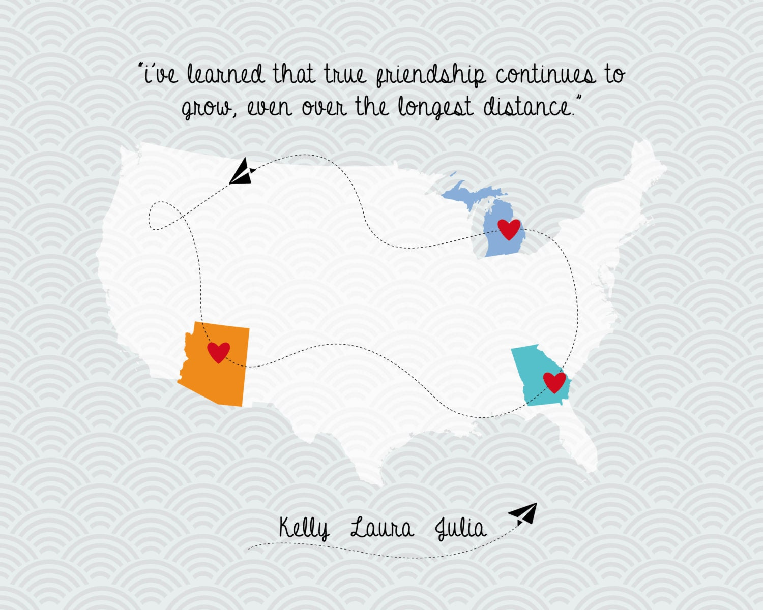 Quotes About Friendship Distance Gorgeous Digital File Printable Map Long Distance Friendship