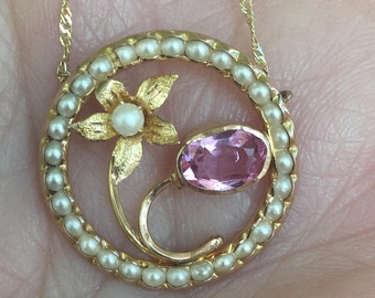 10k Antique Art Nouveau Flower Amethyst Pearl Pendant Necklace