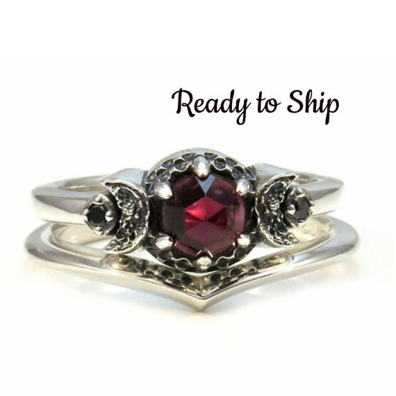 Ready to Ship - Crescent Moon Engagement Ring Set - Rose Cut Red Garnet and Black Diamonds - Sterling Silver Gothic Stacking Rings