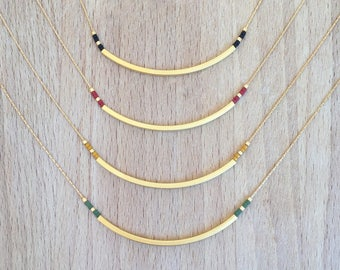 Minimalist Tube necklace beads gilded with fine gold