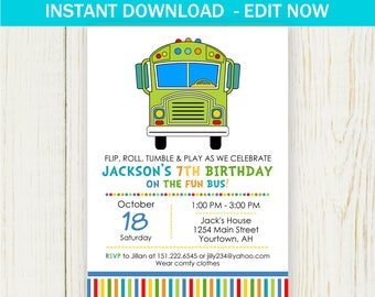 Fun Bus Birthday Party Invitation Digital EDIT NOW Fun or Tumble Bus Invitation instant download