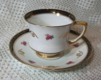 Vintage Paragon China Teacup, English Bone China Teacup, White Navy Blue with Pink Roses, 1920s