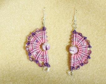 Macrame earrings, micro macrame, knotted jewelry, hand made jewelry, boho, chic