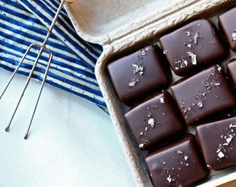 Sea Salt Caramels (Organic, Fair Trade, Dark Chocolate, Soy free, Chocolate Covered, Holiday, Vermont, New England, Handmade, Gift, Treat)