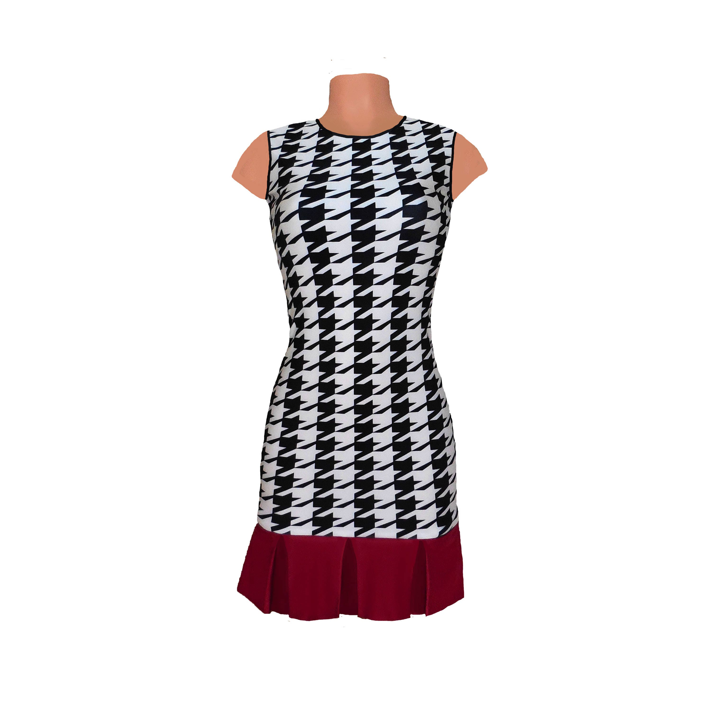 Alabama Houndstooth Dress with Crimson Kick Pleat