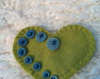 Limeade Handmade Felt Heart pin/brooch
