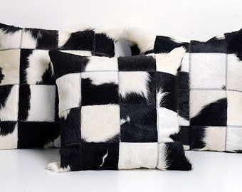 Cowhide Pillow Cover Cushion Cow Hide Hair on cover. Set of 3