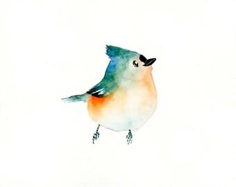 TITMOUSE -7x5inch print-Art Print-Bird Watercolor Print-Giclee Print-bird art