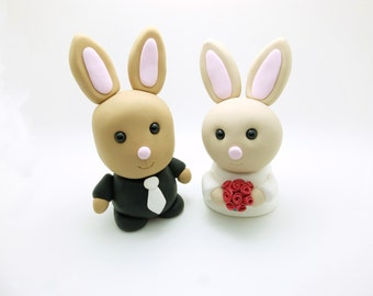 Bunny couple wedding cake toppers