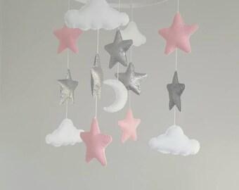 star mobile, cloud mobile, baby girl mobile, glitter mobile, nursery mobile, baby girl mobile, baby mobile, baby crib mobile