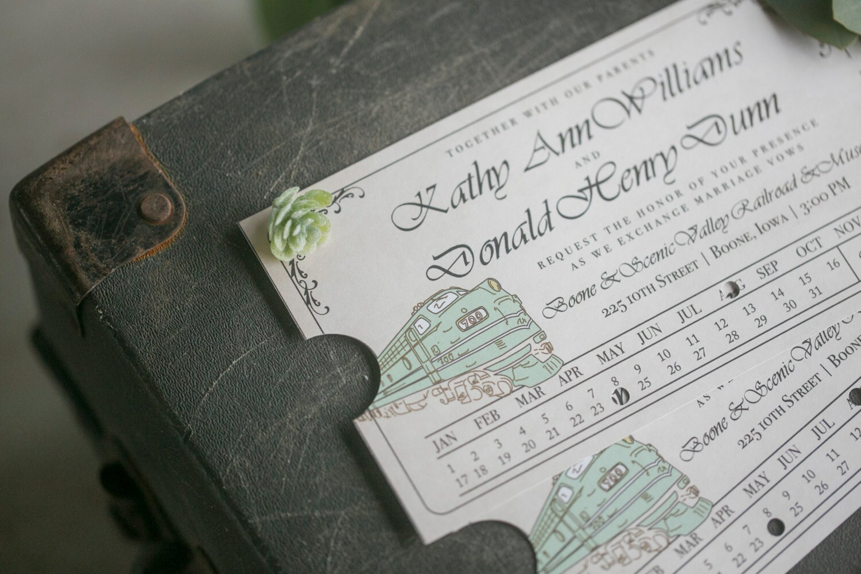 AmTrack Wedding Invitation Train Ticket Wedding Invitation