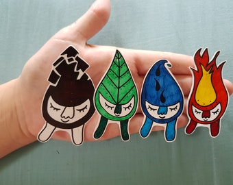 OOAK Hand Drawn Elementals Shrinky Dink set! -Badge -Pin -Earth -Air -Fire -Water -Magic -Witchcraft
