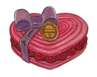 Original Watercolour Painting Print - Laduree Valentine Macaron Je t'aime