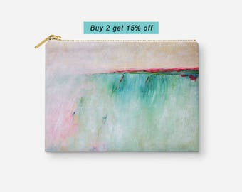 Abstract Makeup Bag, Turquoise Blue Pink Cosmetic Bag, Accessory Pouch, Travel Pouch, Pencil Bag, Zipper Pouch, Womens Gift, Gift under 20