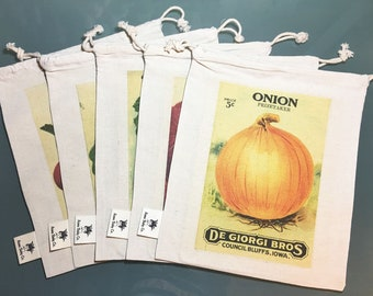 Organic Reusable Produce Bags. Five Medium Eco-Friendly Bags. Vintage Seed Packets. 18 vegetable design-options available to choose from.