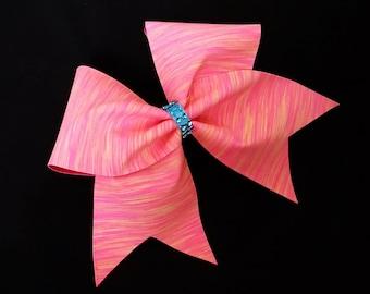 Cheer bows, Pink and orange cheer bow, cheerleading bow, dance bow, cheerleader bow, softball bow, cheer bow, large cheer bow, dance bow