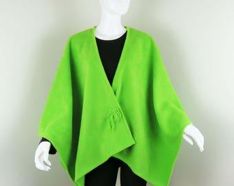 Lime Poncho Wrap - Fleece Cape, Large Shawl - Baby Wearing Wrap, Jacket, Maternity Coat, Plus Size, One Size FIts Most