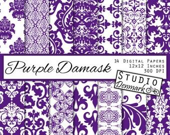 Purple Damask Digital Paper - Decorative Floral Deep Purple / Plum Wedding Lace Backgrounds - Commercial Use - Instant Download Damask