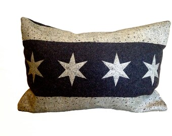 READY TO SHIP: Chicago Flag Pillow Cover from Military Blanket - Charcoal Gray