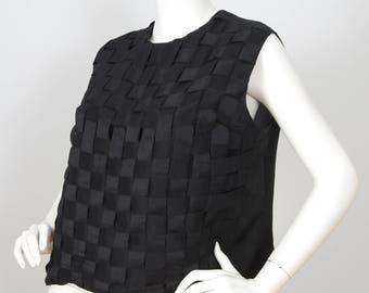 Valditevere 1960s Vintage Italian Black Raw Silk Sleeveless Blouse Sz XL