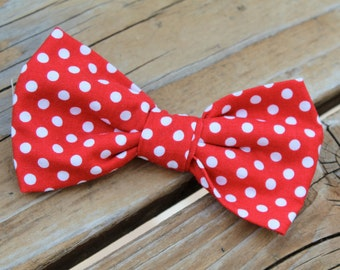 Red and White Polka Dot Men's Bow tie - clip on, pre-tied with strap or self tying - ring bearer or groomsmen